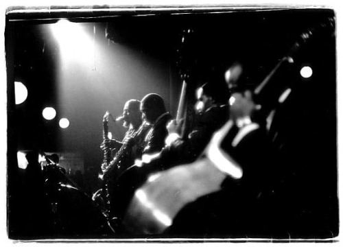 Coltrane on soprano sax, Eric Dolphy on bass clarinet.